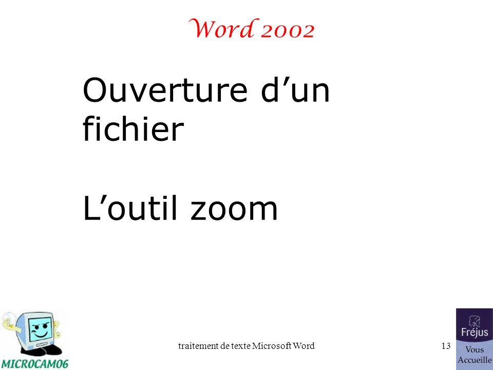 traitement de texte Microsoft Word12 Word 2002 - des menus de taille variable