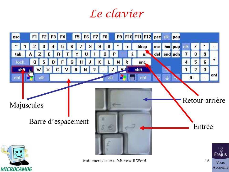 traitement de texte Microsoft Word15 Saisie du premier texte dans Word 2002 La saisie se fait au « kilomètre », cest- à-dire que lon laisse le soin à