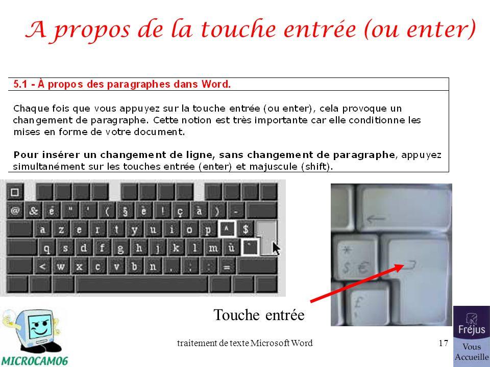 traitement de texte Microsoft Word16 Le clavier Majuscules Barre despacement Retour arrière Entrée