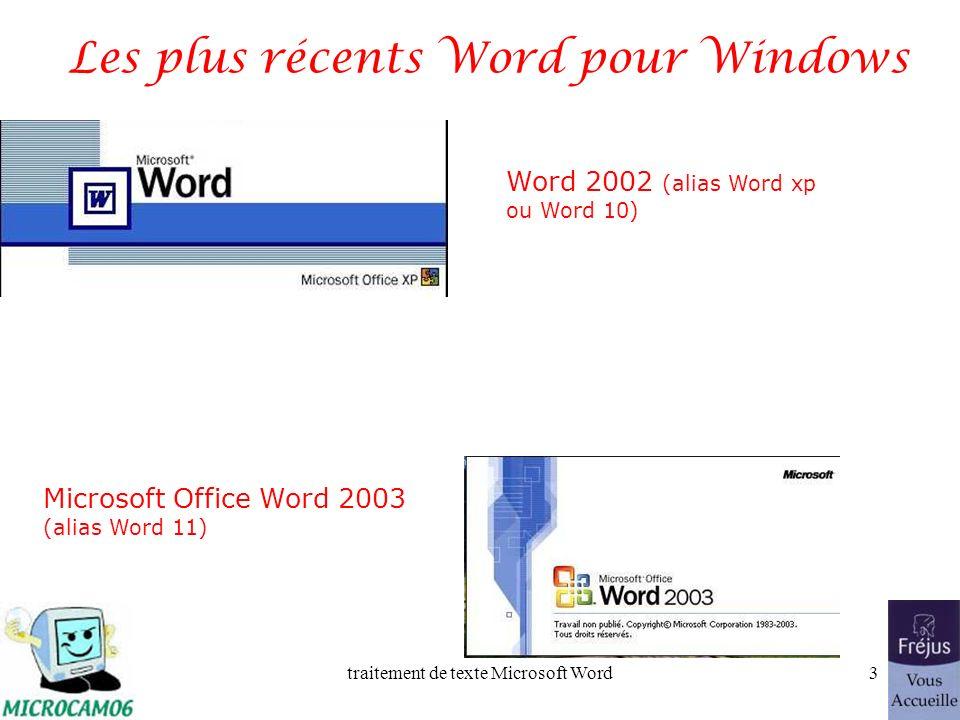 traitement de texte Microsoft Word2 Plan Les versions Windows les plus récentes Lancement de Word Vue générale, les barres doutils Ouverture dun fichi