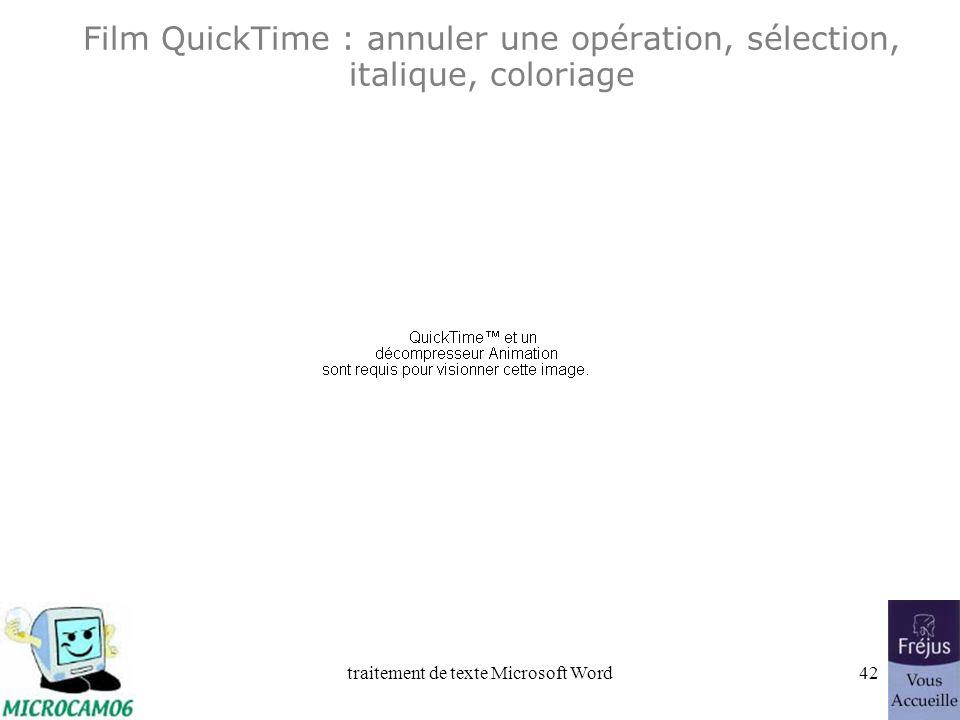 traitement de texte Microsoft Word41 Word 2002 Annuler une opération. Sélection dun texte Mise en italique Mise en couleur du titre