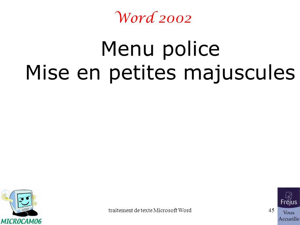 traitement de texte Microsoft Word44 Film QuickTime : police et taille