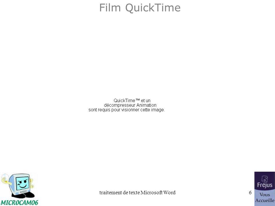 traitement de texte Microsoft Word36 Film QuickTime : retraits, mise en italique