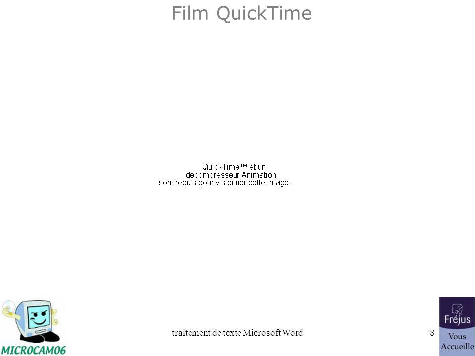 traitement de texte Microsoft Word38 Film QuickTime : déplacements des barres doutils standard et mise en forme