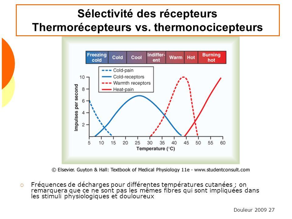 Douleur 2009 27 Sélectivité des récepteurs Thermorécepteurs vs. thermonocicepteurs Fréquences de décharges pour différentes températures cutanées ; on