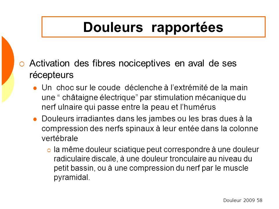 Douleur 2009 58 Douleurs rapportées Activation des fibres nociceptives en aval de ses récepteurs Un choc sur le coude déclenche à lextrémité de la mai