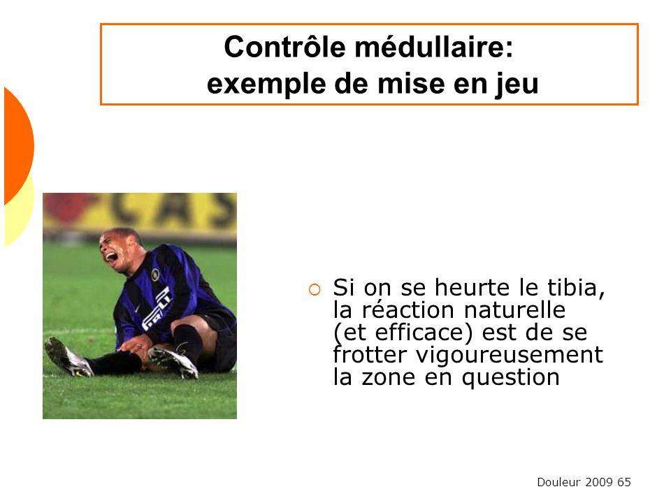 Douleur 2009 65 Contrôle médullaire: exemple de mise en jeu Si on se heurte le tibia, la réaction naturelle (et efficace) est de se frotter vigoureuse