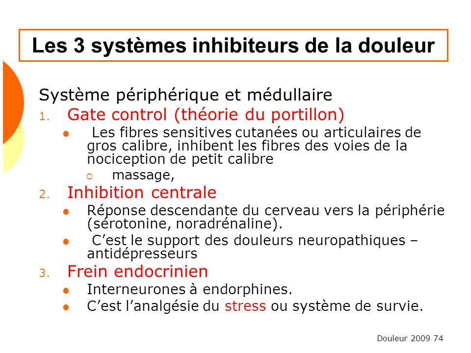 Douleur 2009 74 Les 3 systèmes inhibiteurs de la douleur Système périphérique et médullaire 1. Gate control (théorie du portillon) Les fibres sensitiv