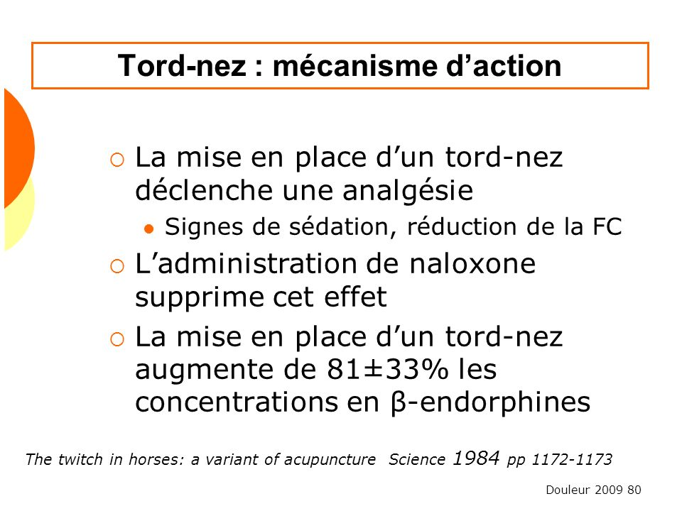 Douleur 2009 80 Tord-nez : mécanisme daction La mise en place dun tord-nez déclenche une analgésie Signes de sédation, réduction de la FC Ladministration de naloxone supprime cet effet La mise en place dun tord-nez augmente de 81±33% les concentrations en β-endorphines The twitch in horses: a variant of acupuncture Science 1984 pp 1172-1173