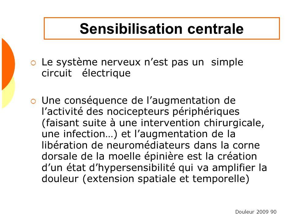 Douleur 2009 90 Sensibilisation centrale Le système nerveux nest pas un simple circuit électrique Une conséquence de laugmentation de lactivité des no