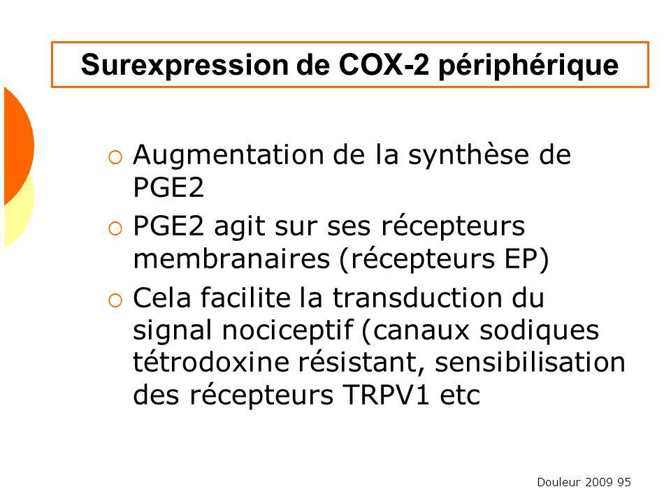 Douleur 2009 95 Surexpression de COX-2 périphérique Augmentation de la synthèse de PGE2 PGE2 agit sur ses récepteurs membranaires (récepteurs EP) Cela