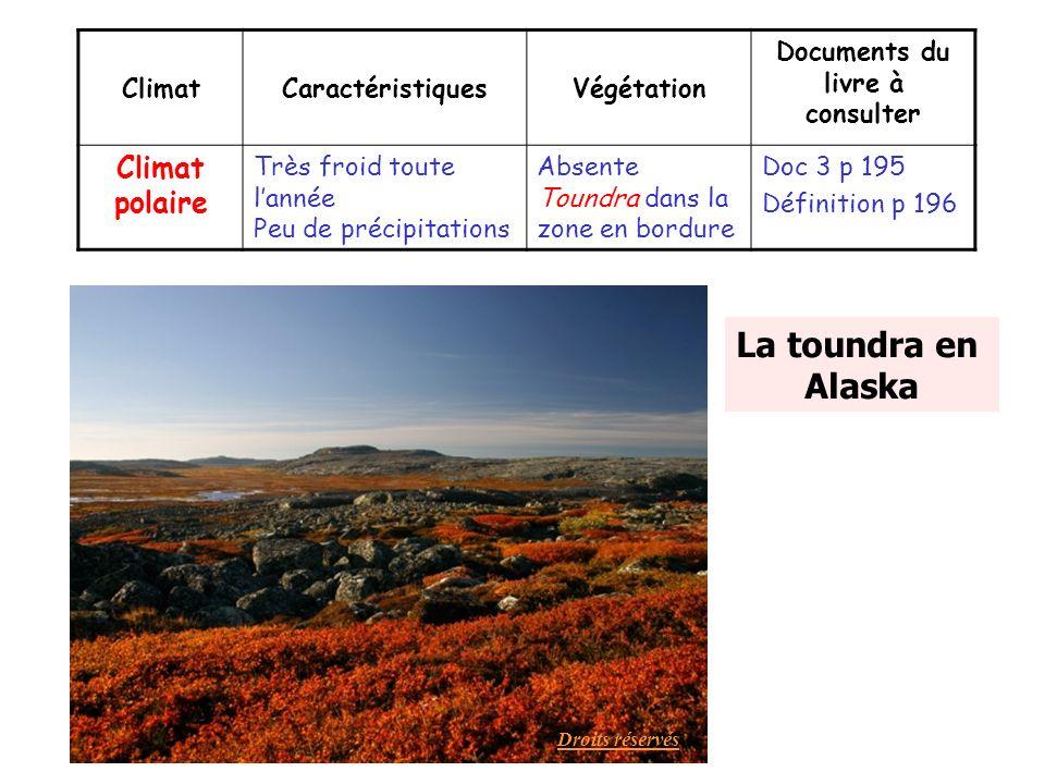 La toundra en Alaska ClimatCaractéristiquesVégétation Documents du livre à consulter Climat polaire Très froid toute lannée Peu de précipitations Abse