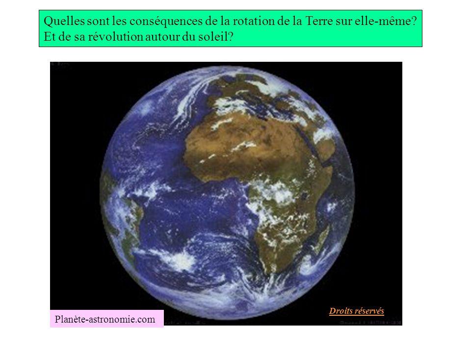 Quelles sont les conséquences de la rotation de la Terre sur elle-même? Et de sa révolution autour du soleil? Planète-astronomie.com Droits réservés