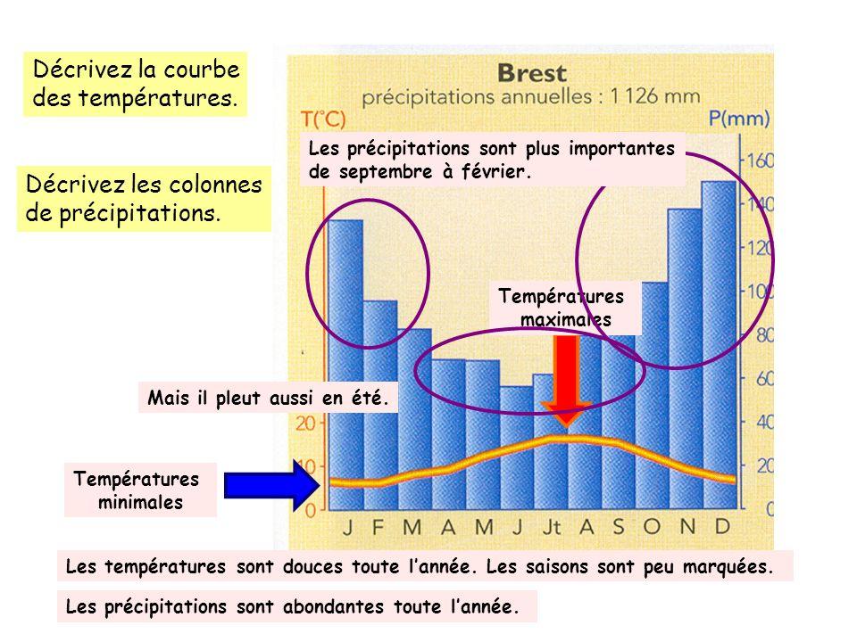 Décrivez la courbe des températures. Décrivez les colonnes de précipitations. Températures minimales Températures maximales Les températures sont douc