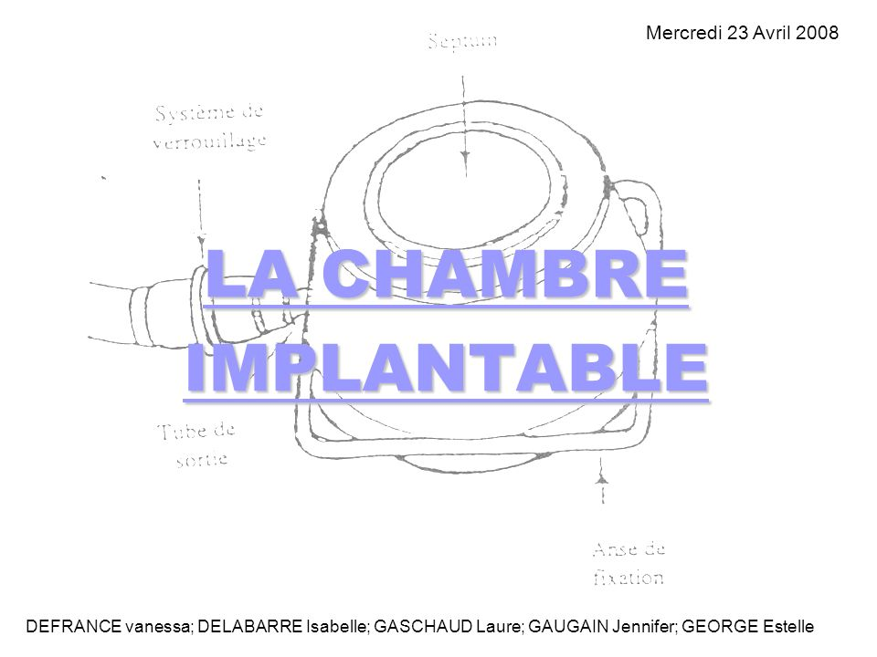 LA CHAMBRE IMPLANTABLE DEFRANCE vanessa; DELABARRE Isabelle; GASCHAUD Laure; GAUGAIN Jennifer; GEORGE Estelle Mercredi 23 Avril 2008