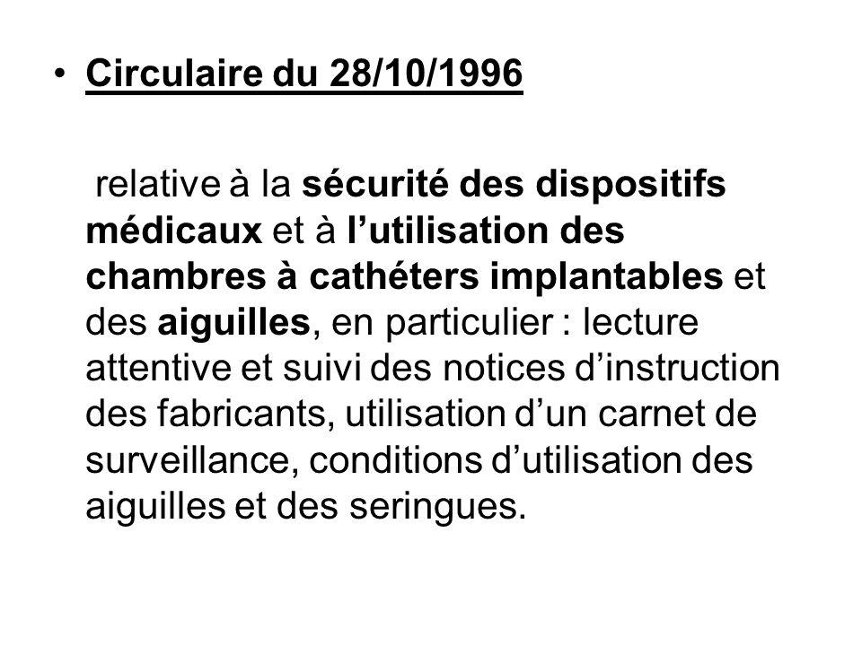 Circulaire du 28/10/1996 relative à la sécurité des dispositifs médicaux et à lutilisation des chambres à cathéters implantables et des aiguilles, en