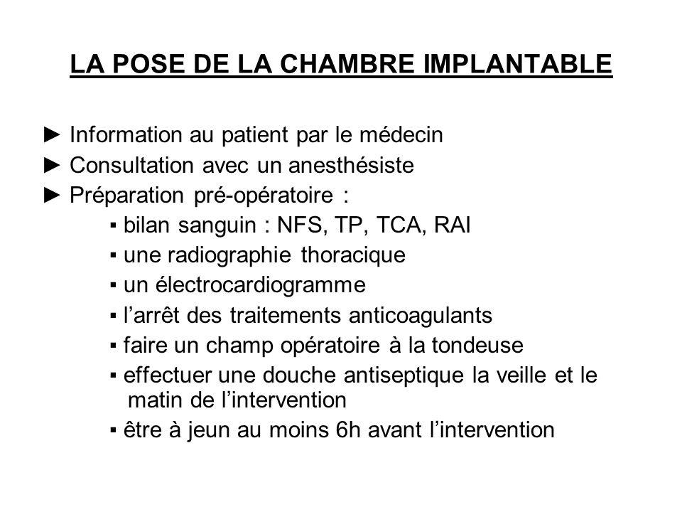 LA POSE DE LA CHAMBRE IMPLANTABLE Information au patient par le médecin Consultation avec un anesthésiste Préparation pré-opératoire : bilan sanguin :