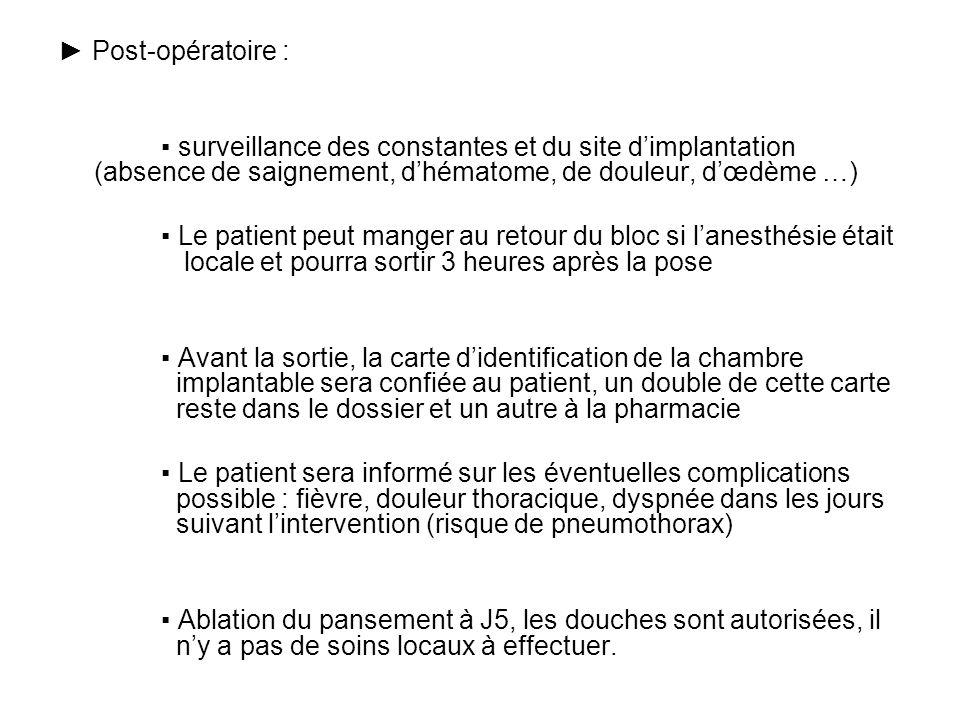 Post-opératoire : surveillance des constantes et du site dimplantation (absence de saignement, dhématome, de douleur, dœdème …) Le patient peut manger