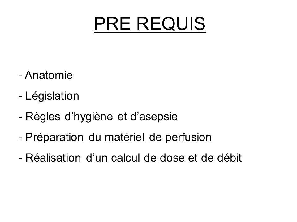 PRE REQUIS - Anatomie - Législation - Règles dhygiène et dasepsie - Préparation du matériel de perfusion - Réalisation dun calcul de dose et de débit