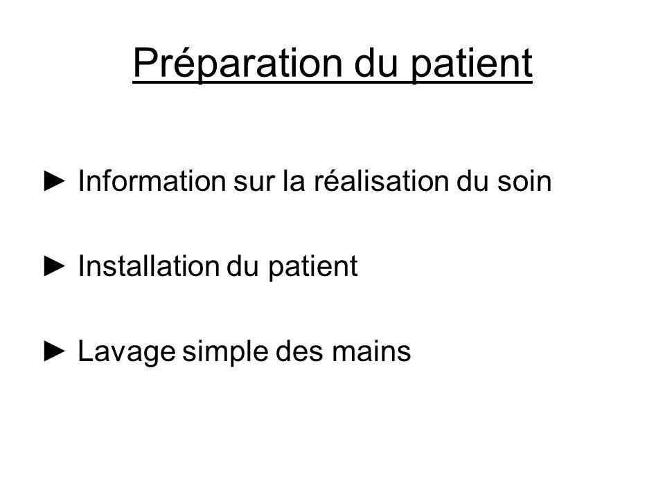 Préparation du patient Information sur la réalisation du soin Installation du patient Lavage simple des mains