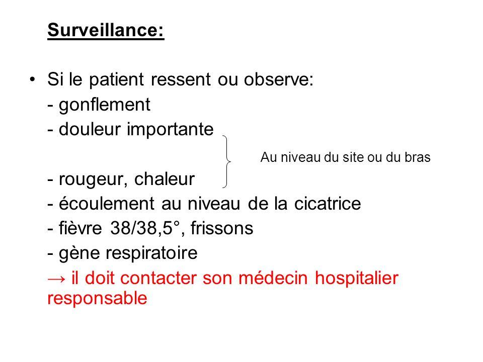 Surveillance: Si le patient ressent ou observe: - gonflement - douleur importante - rougeur, chaleur - écoulement au niveau de la cicatrice - fièvre 3