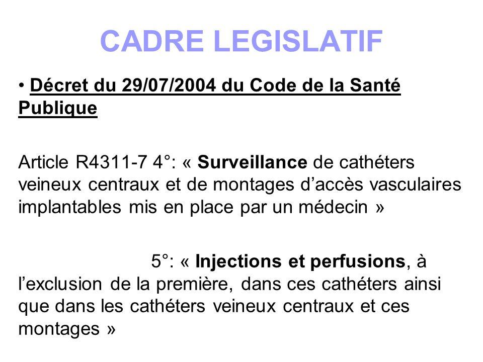 CADRE LEGISLATIF Décret du 29/07/2004 du Code de la Santé Publique Article R4311-7 4°: « Surveillance de cathéters veineux centraux et de montages dac