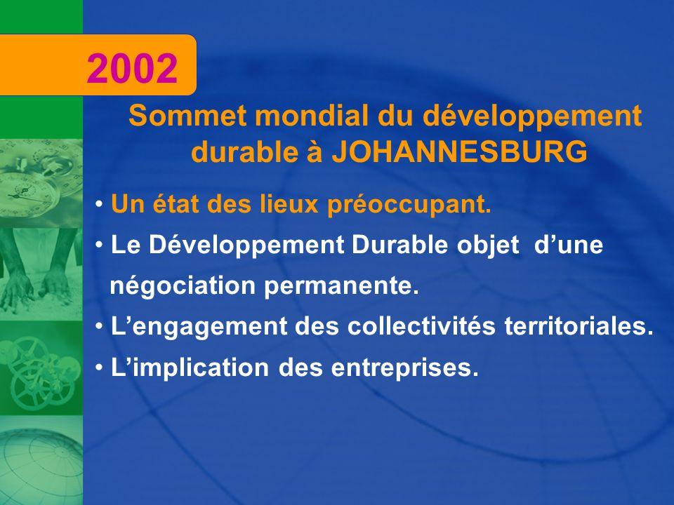Sommet mondial du développement durable à JOHANNESBURG Un état des lieux préoccupant. Le Développement Durable objet dune négociation permanente. Leng
