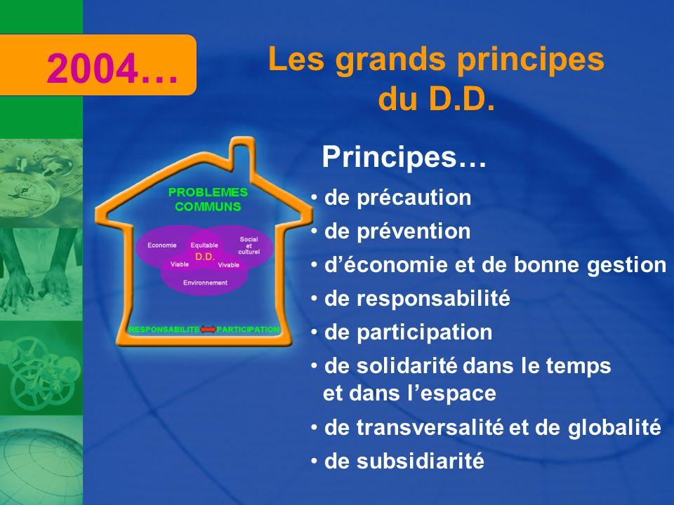 Les grands principes du D.D. Principes… de précaution de prévention déconomie et de bonne gestion de responsabilité de participation de solidarité dan