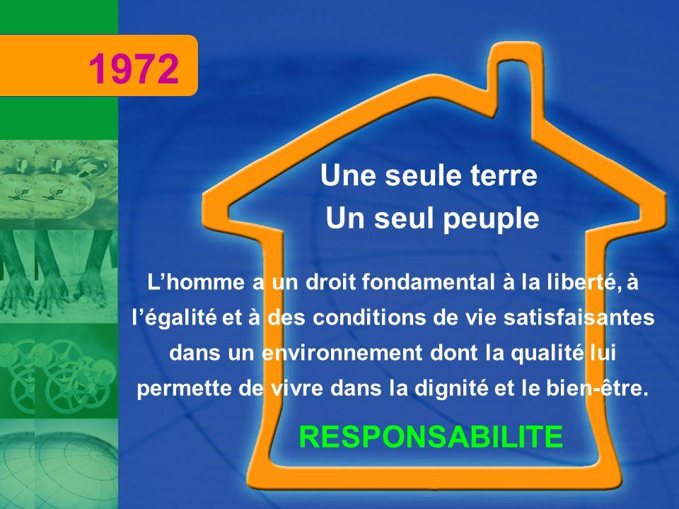 Une seule terre Un seul peuple RESPONSABILITE 1972 Lhomme a un droit fondamental à la liberté, à légalité et à des conditions de vie satisfaisantes da
