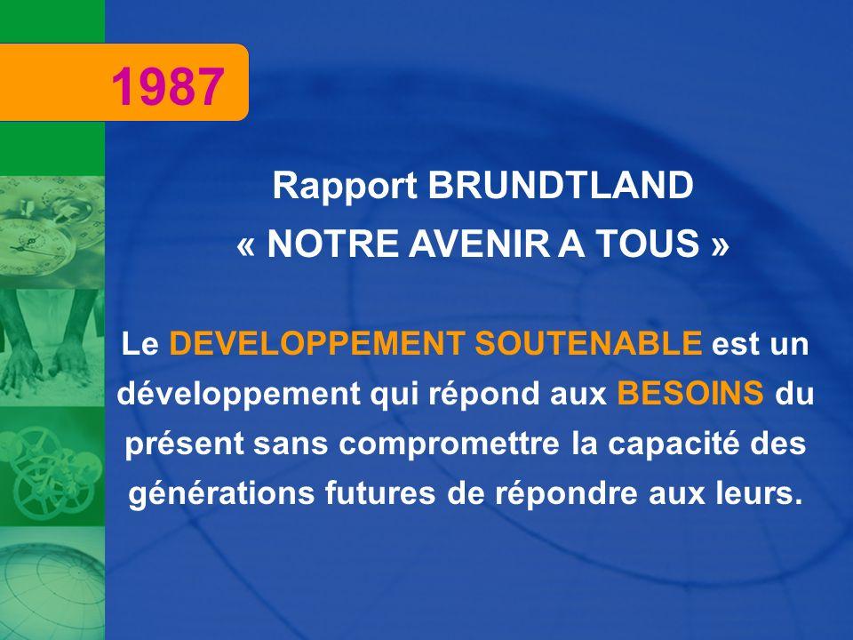 Rapport BRUNDTLAND « NOTRE AVENIR A TOUS » Le DEVELOPPEMENT SOUTENABLE est un développement qui répond aux BESOINS du présent sans compromettre la cap
