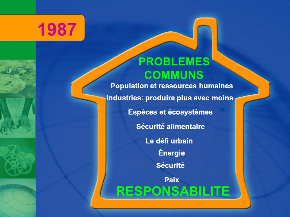 RESPONSABILITE PROBLEMES COMMUNS Le défi urbain Population et ressources humaines Paix Sécurité Industries: produire plus avec moins Énergie Espèces e