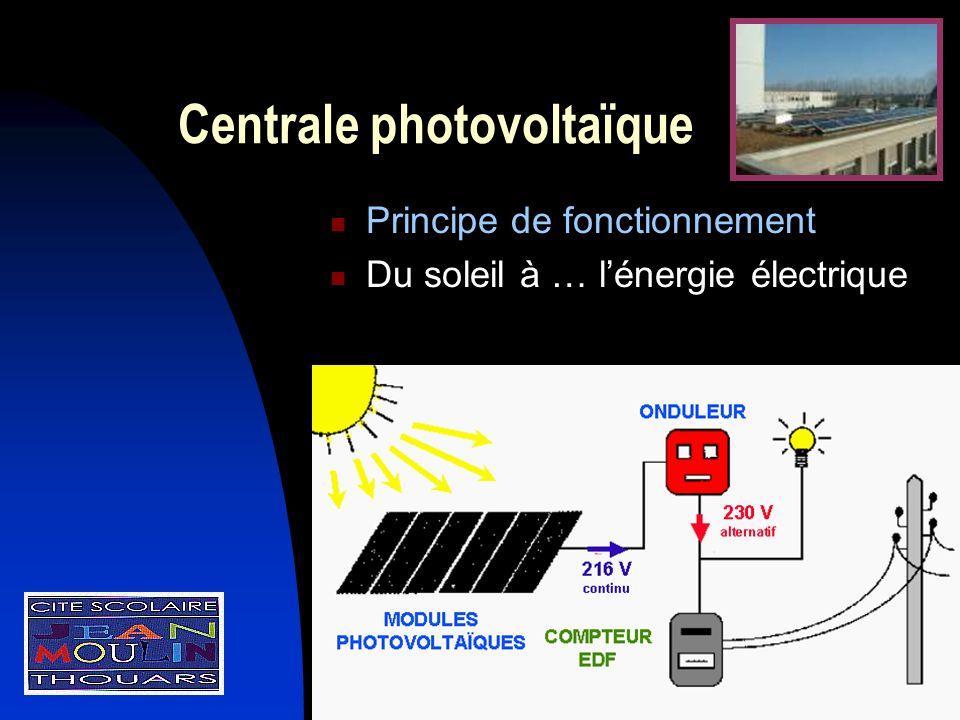Centrale photovoltaïque Principe de fonctionnement Du soleil à … lénergie électrique