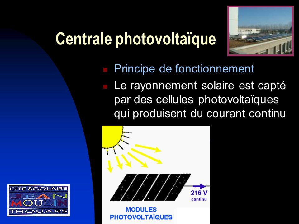 Centrale photovoltaïque Principe de fonctionnement Le rayonnement solaire est capté par des cellules photovoltaïques qui produisent du courant continu