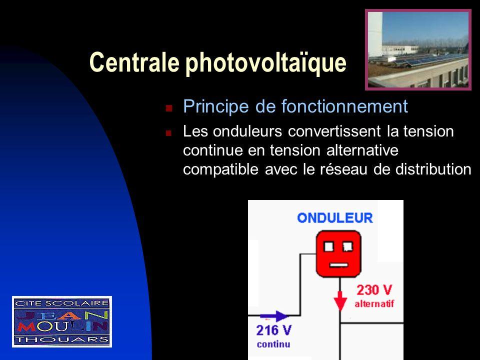 Centrale photovoltaïque Principe de fonctionnement Les onduleurs convertissent la tension continue en tension alternative compatible avec le réseau de