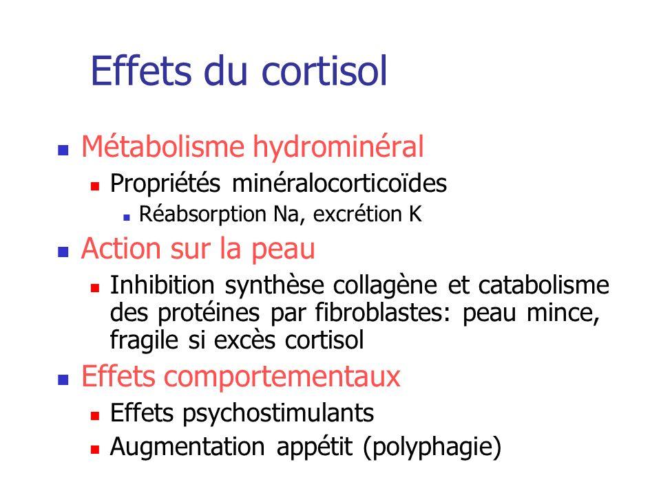 Effets du cortisol Métabolisme hydrominéral Propriétés minéralocorticoïdes Réabsorption Na, excrétion K Action sur la peau Inhibition synthèse collagè