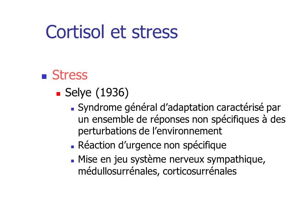 Cortisol et stress Stress Selye (1936) Syndrome général dadaptation caractérisé par un ensemble de réponses non spécifiques à des perturbations de len