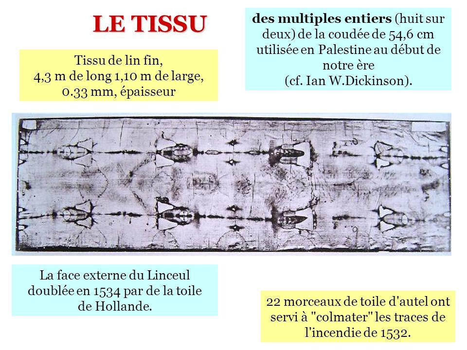 des multiples entiers (huit sur deux) de la coudée de 54,6 cm utilisée en Palestine au début de notre ère (cf. Ian W.Dickinson). LE TISSU La face exte