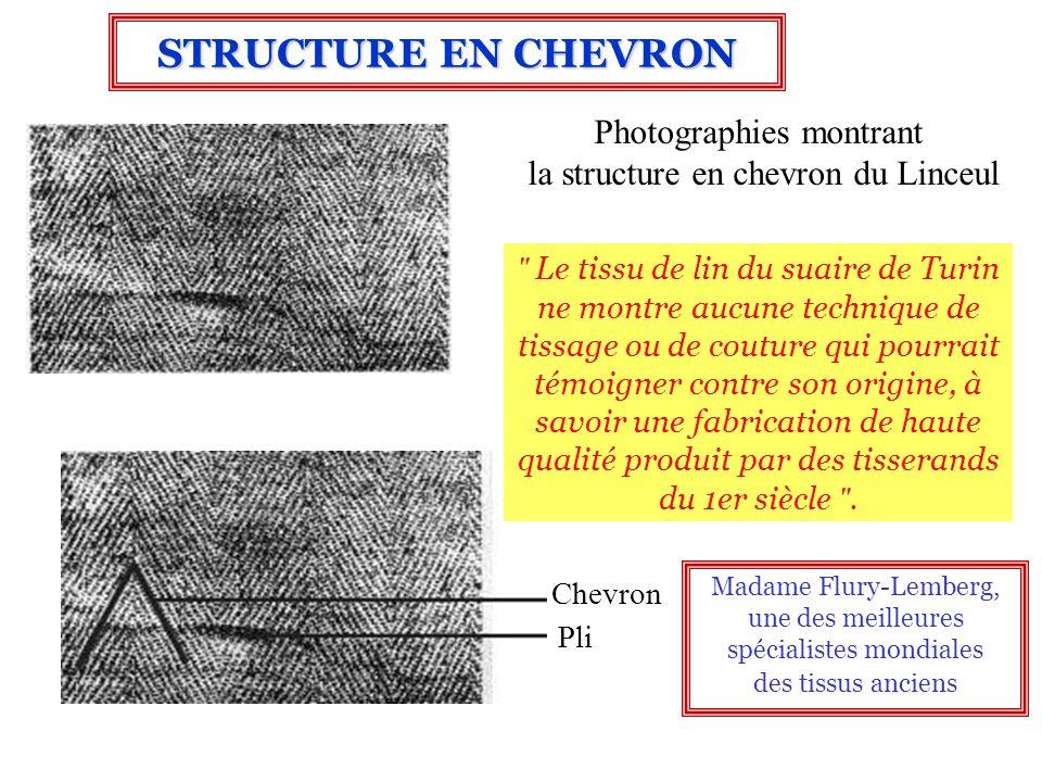 Photographies montrant la structure en chevron du Linceul Chevron Pli STRUCTURE EN CHEVRON