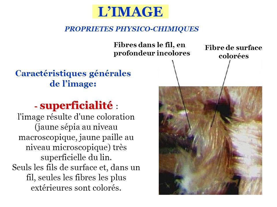 PROPRIETES PHYSICO-CHIMIQUES - superficialité - superficialité : l image résulte d une coloration (jaune sépia au niveau macroscopique, jaune paille au niveau microscopique) très superficielle du lin.