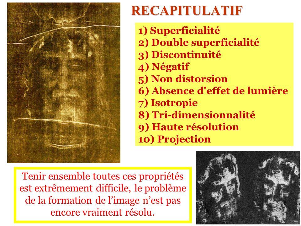 RECAPITULATIF 1) Superficialité 2) Double superficialité 3) Discontinuité 4) Négatif 5) Non distorsion 6) Absence d'effet de lumière 7) Isotropie 8) T