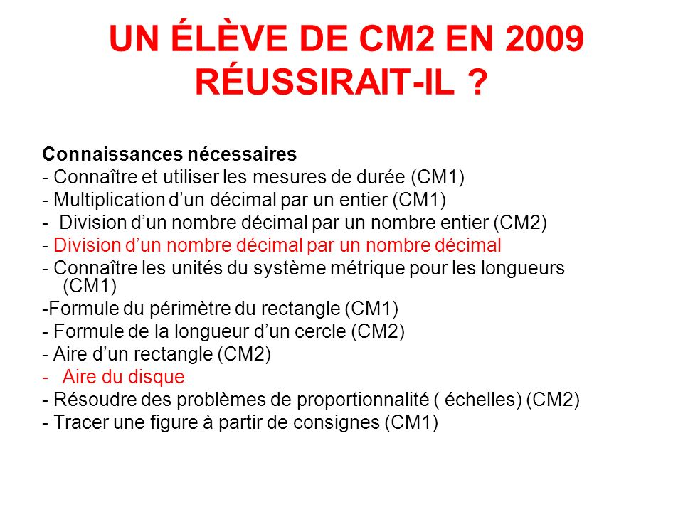 UN ÉLÈVE DE CM2 EN 2009 RÉUSSIRAIT-IL ? Connaissances nécessaires - Connaître et utiliser les mesures de durée (CM1) - Multiplication dun décimal par