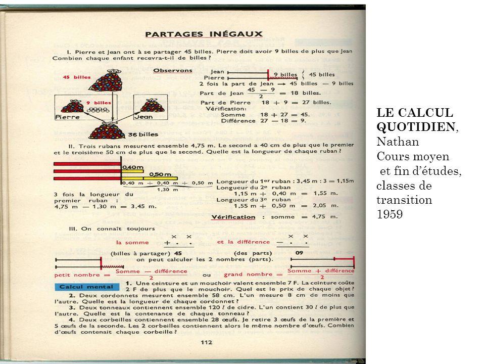 18 LE CALCUL QUOTIDIEN, Nathan Cours moyen et fin détudes, classes de transition 1959