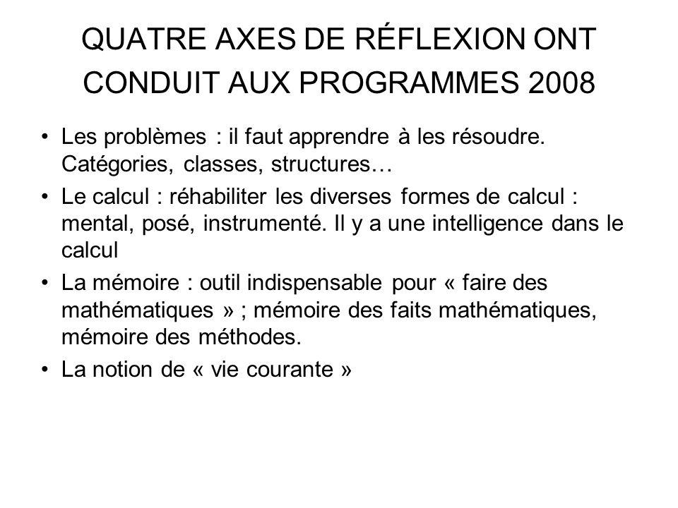 QUATRE AXES DE RÉFLEXION ONT CONDUIT AUX PROGRAMMES 2008 Les problèmes : il faut apprendre à les résoudre. Catégories, classes, structures… Le calcul