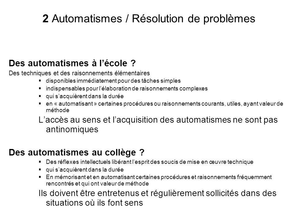 2 Automatismes / Résolution de problèmes Des automatismes à lécole ? Des techniques et des raisonnements élémentaires disponibles immédiatement pour d