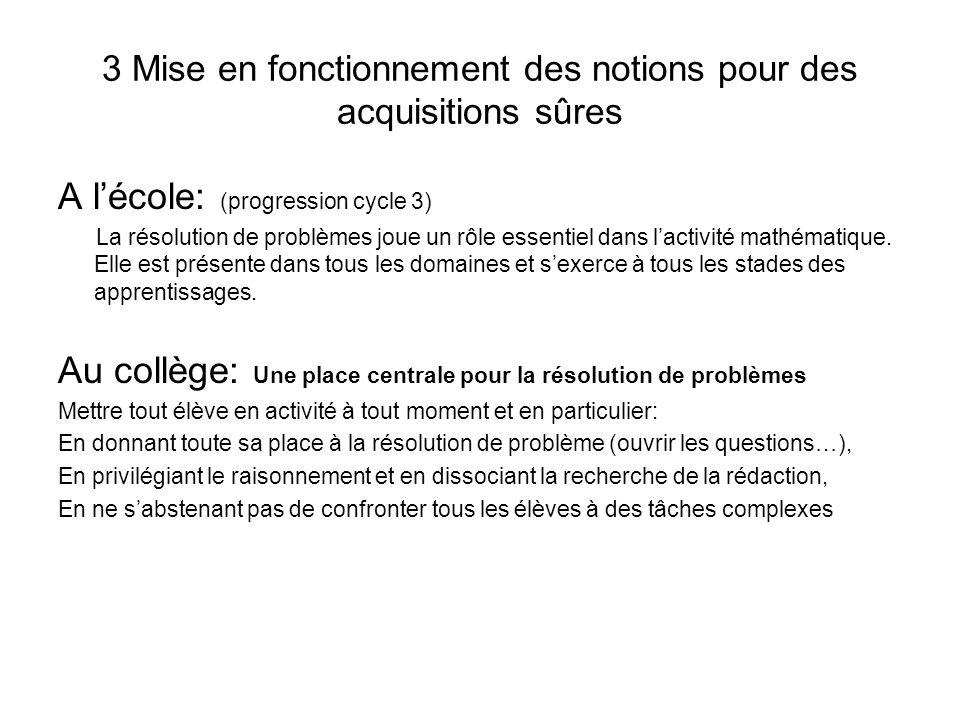 3 Mise en fonctionnement des notions pour des acquisitions sûres A lécole: (progression cycle 3) La résolution de problèmes joue un rôle essentiel dan