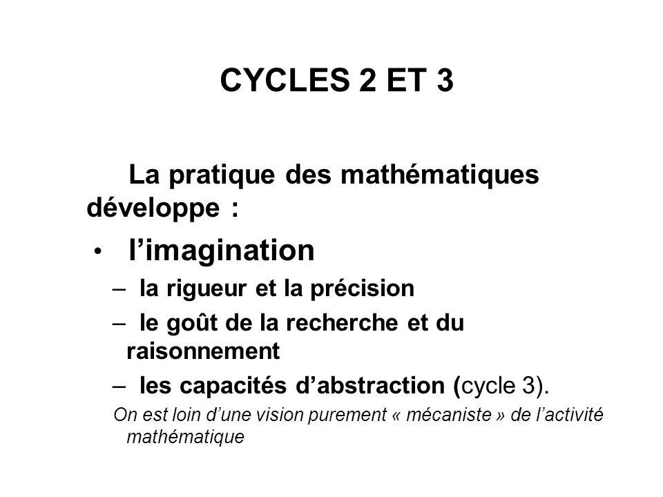 CYCLES 2 ET 3 La pratique des mathématiques développe : limagination – la rigueur et la précision – le goût de la recherche et du raisonnement – les c
