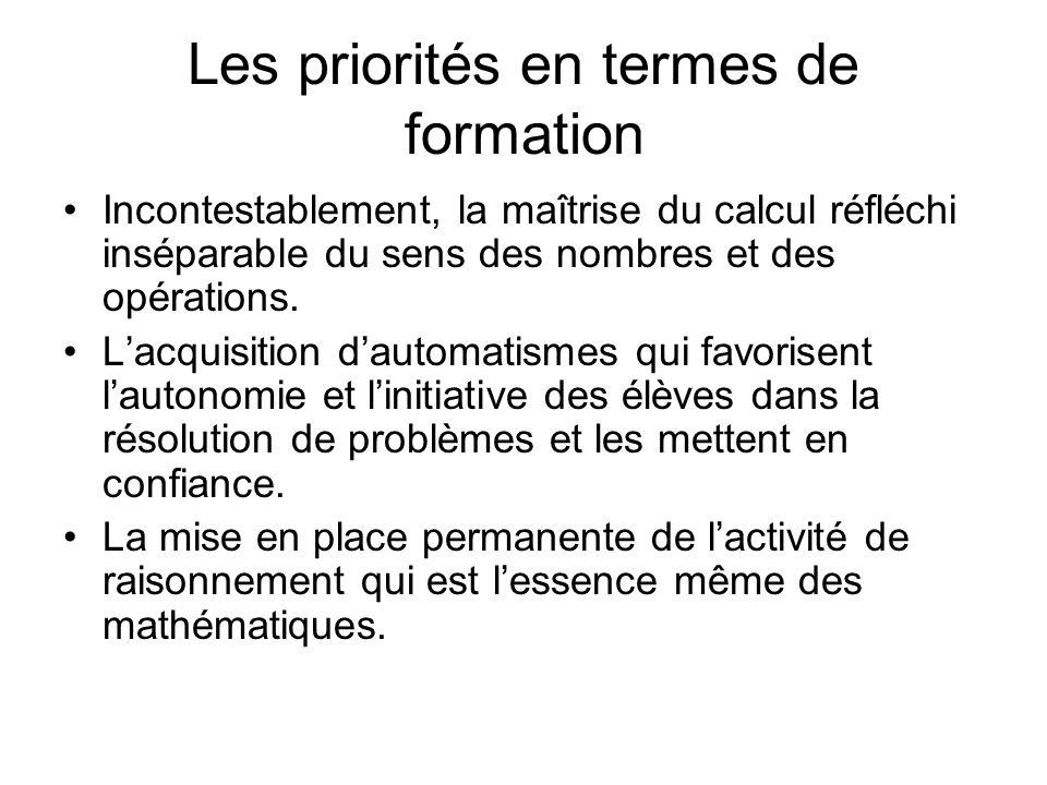Les priorités en termes de formation Incontestablement, la maîtrise du calcul réfléchi inséparable du sens des nombres et des opérations. Lacquisition