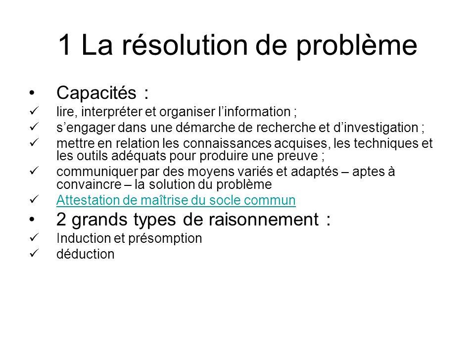 1 La résolution de problème Capacités : lire, interpréter et organiser linformation ; sengager dans une démarche de recherche et dinvestigation ; mett