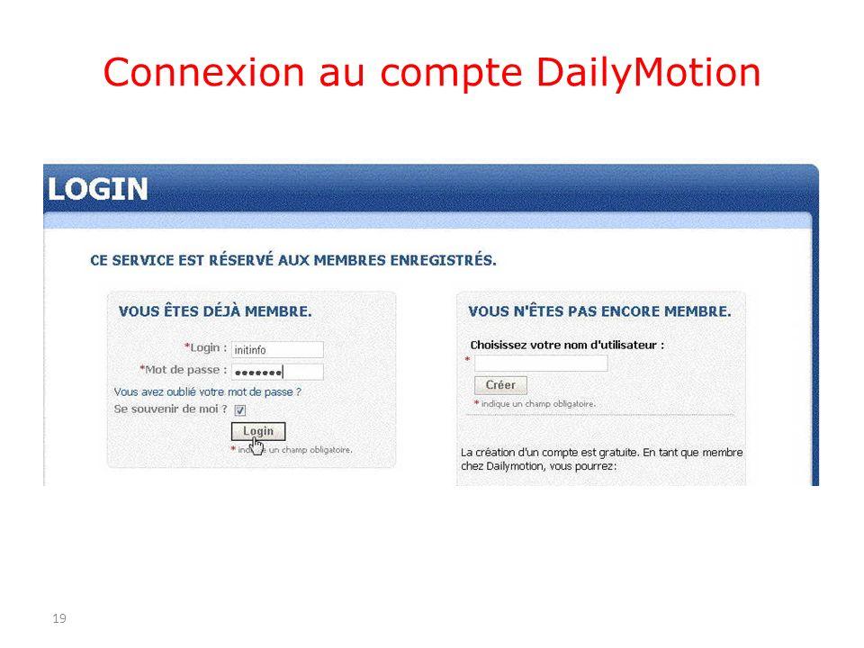 Connexion au compte DailyMotion 19