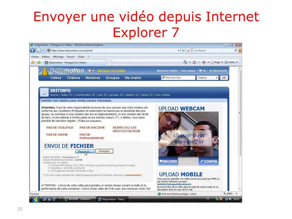 Envoyer une vidéo depuis Internet Explorer 7 20
